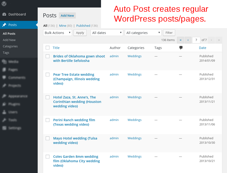 Auto Post posts/pages generated by TubePress